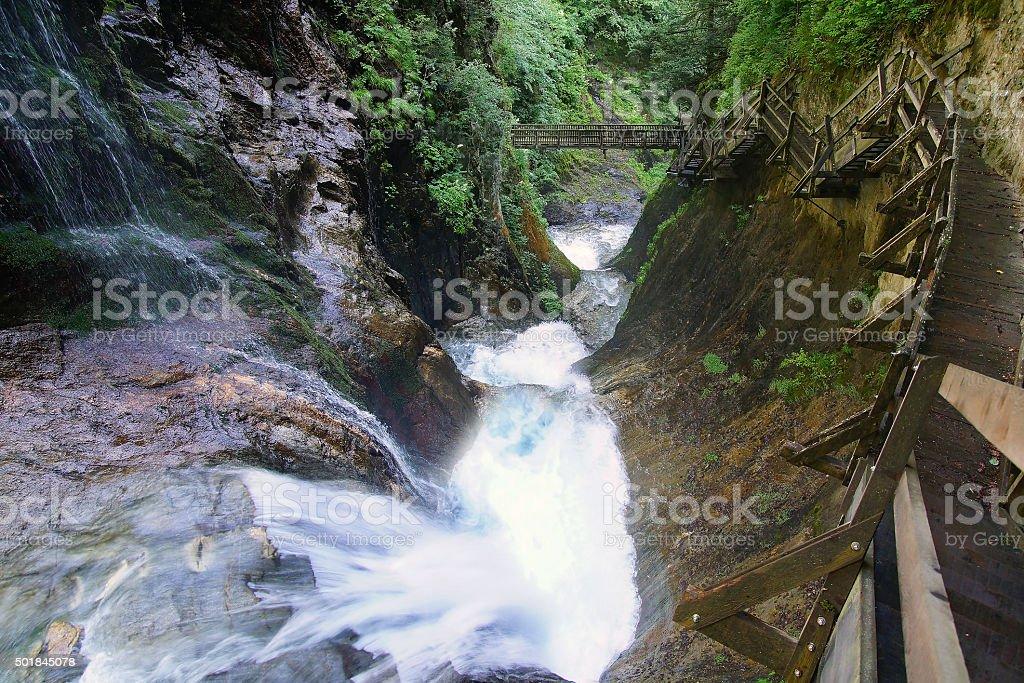Canyon Gorges du Durnand. Switzerland stock photo