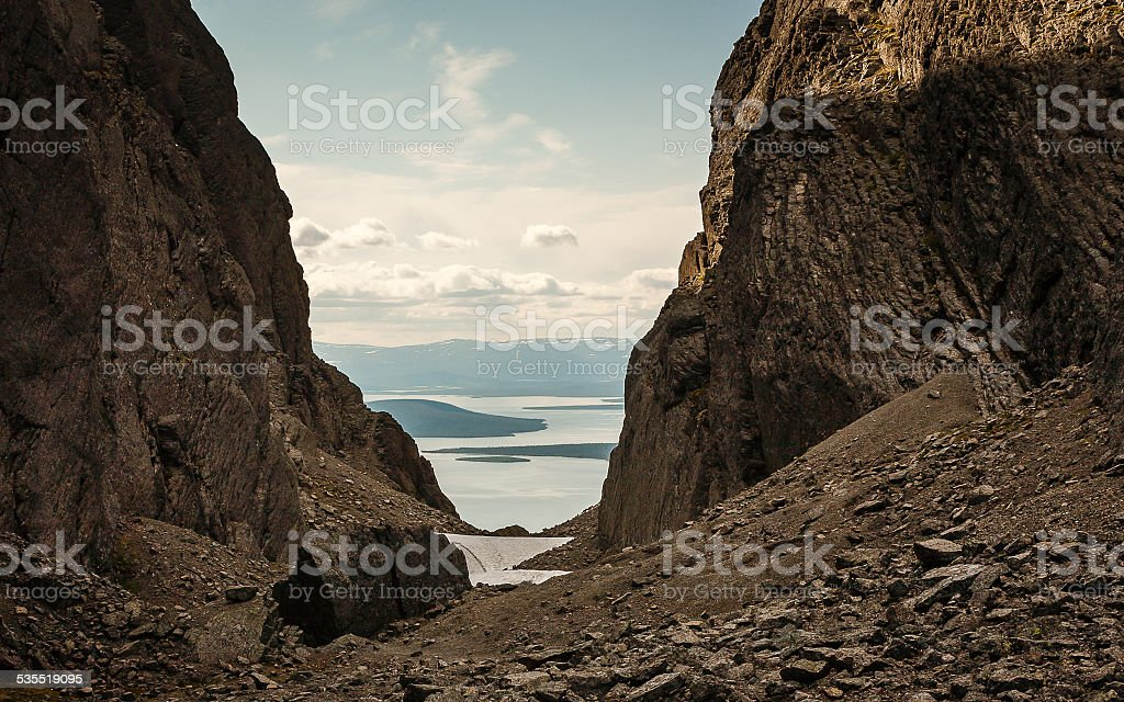 Canyon in Khibiny mountains stock photo