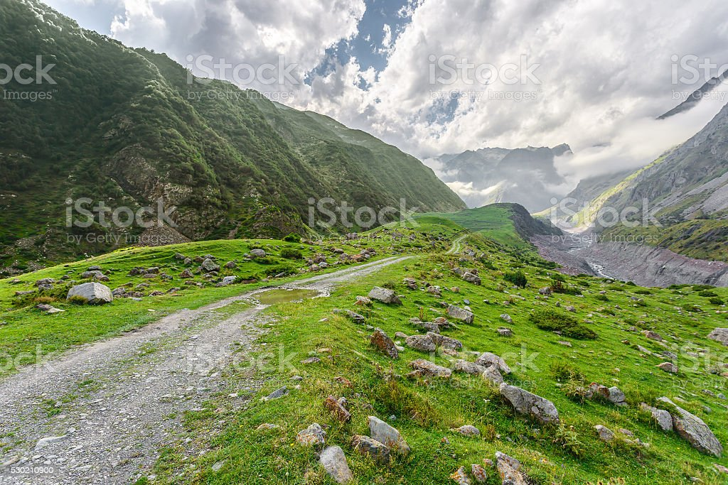 Canyon in the Caucasus Mountains (north-eastern Georgia) stock photo