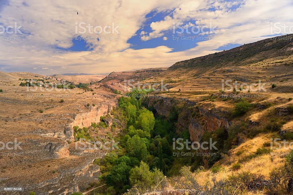 canyon in the high planes of Castille stock photo