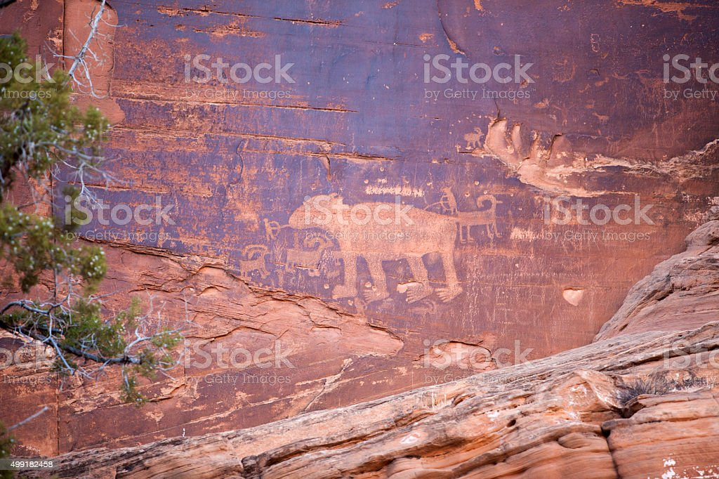 canyon landscape Utah Desert Sandstone pictographs and petroglyph stock photo