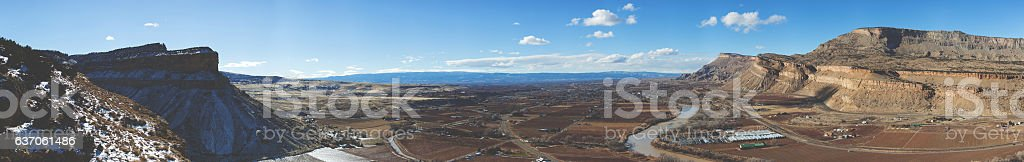 canyon landscape Western Colorado High Desert Mt Garfield View Panorama stock photo
