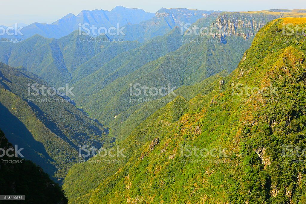 Canyon Monte Negro, impressive green forest summit sunrise, Southern Brazil stock photo