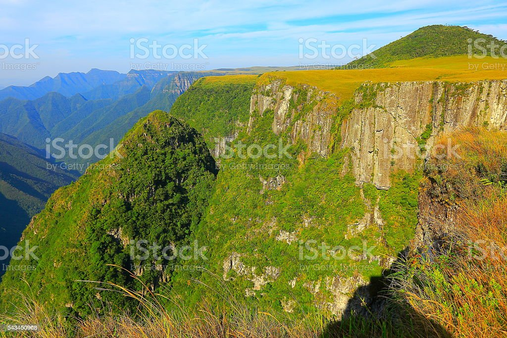 Canyon Monte Negro, impressive rock face summit sunrise, Southern Brazil stock photo