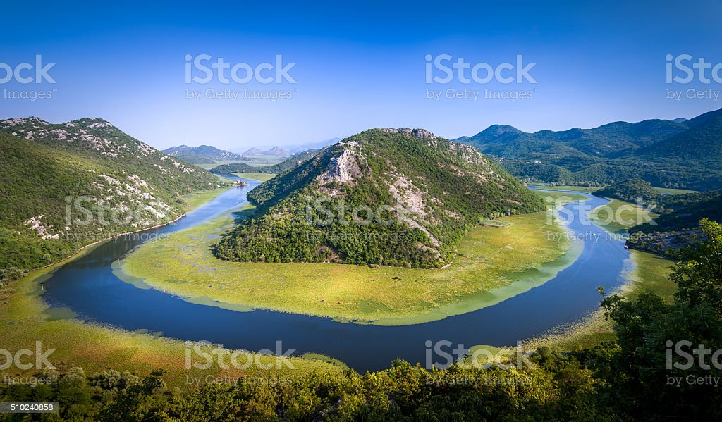 Canyon of river Crnojevica, where it makes a turn over stock photo