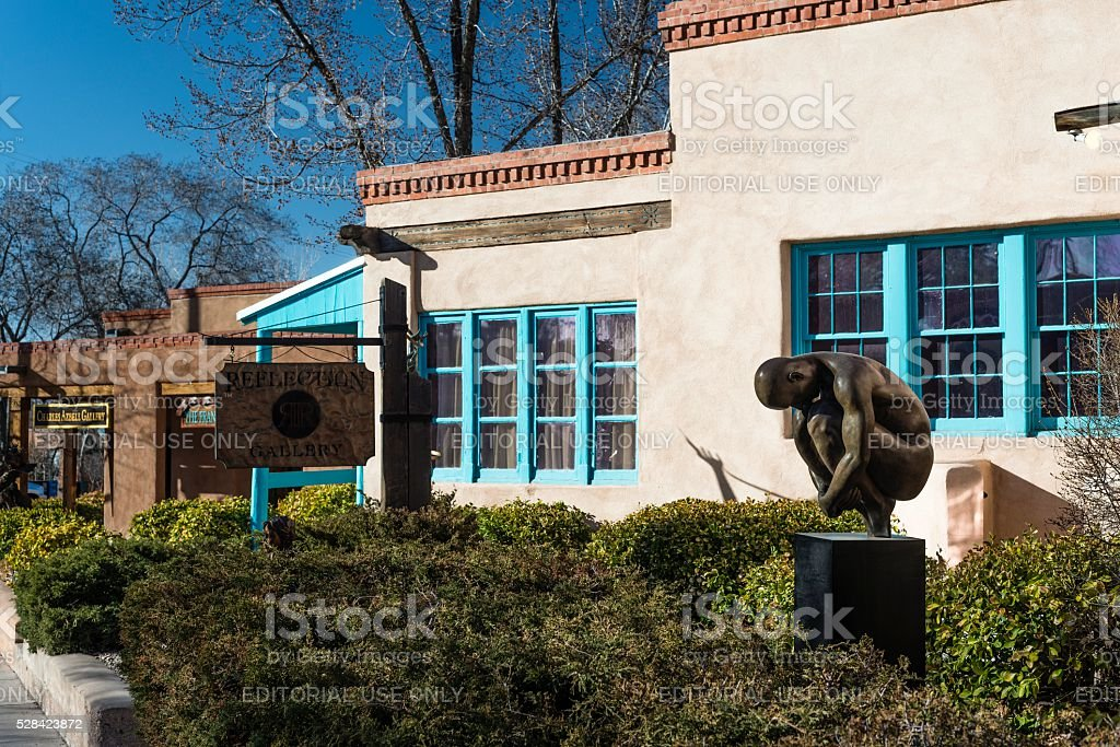 Canyon Road Historic Art District, Santa Fe stock photo