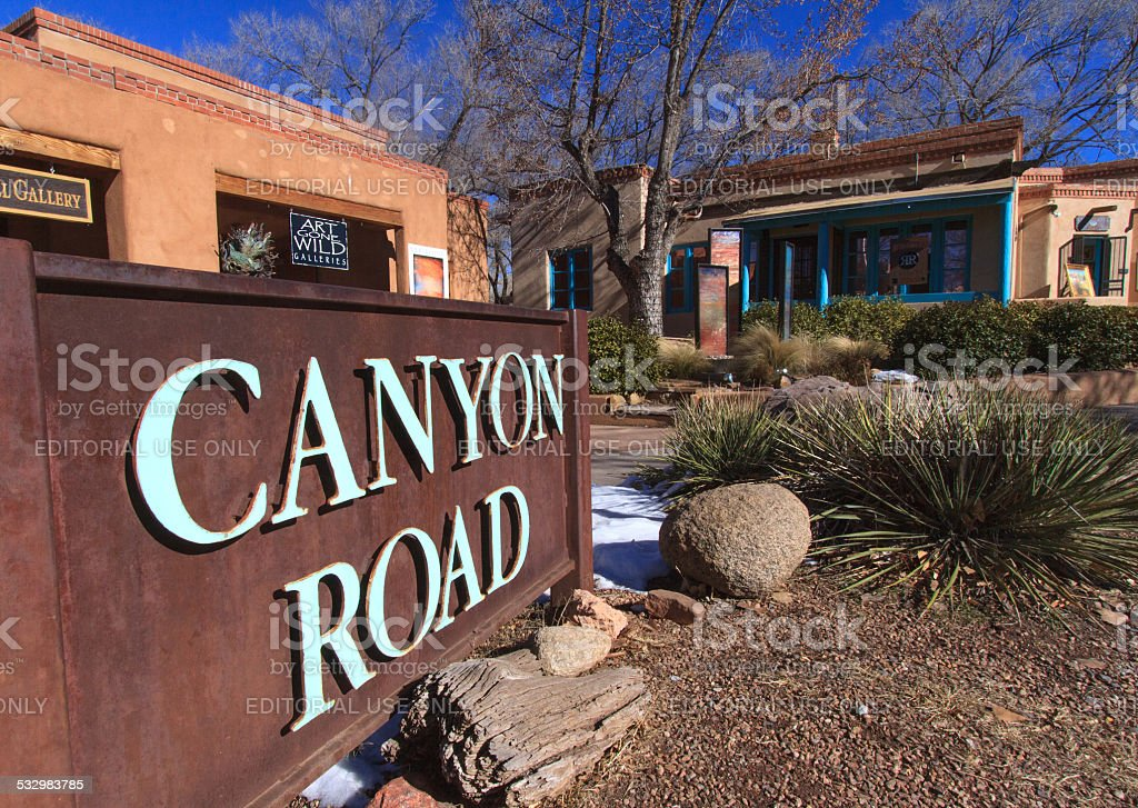 Canyon Road, Santa Fe's Art District stock photo