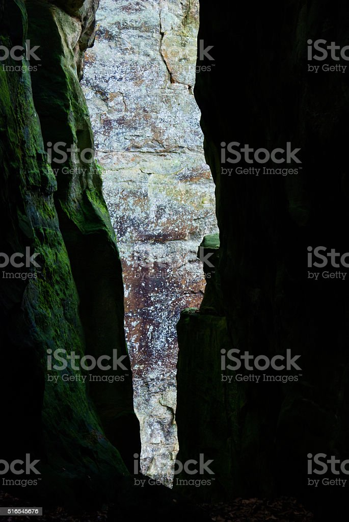 Canyon rock walls in Mullerthal in Little Switzerland stock photo