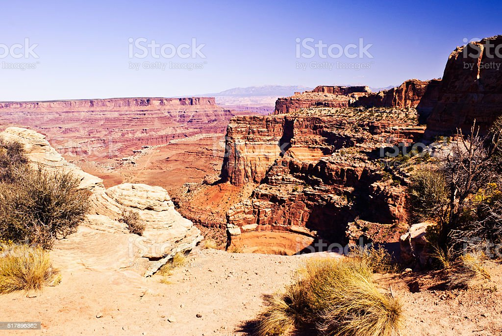 Canyon View at Island In The Sky in Canyonlands Park stock photo