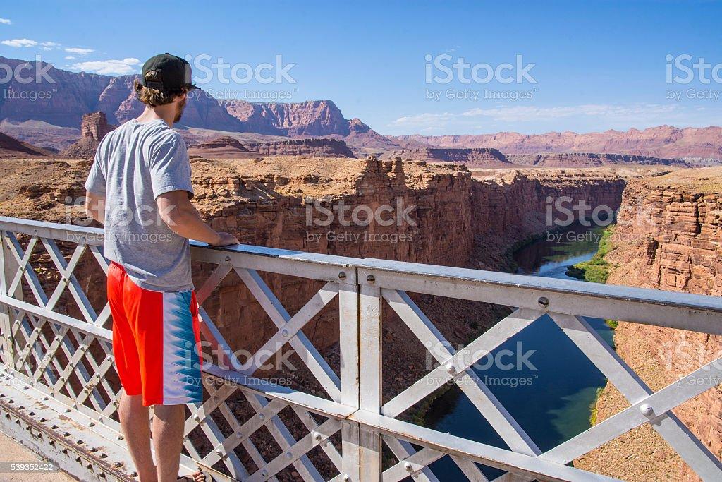 Canyon view below stock photo