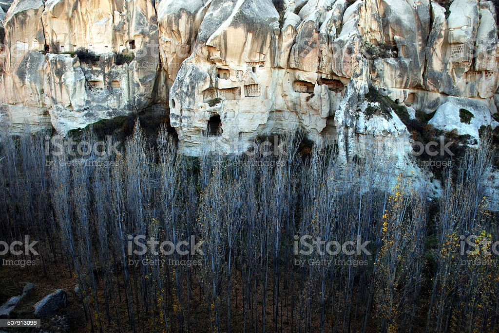 Canyon with caves of  ancient Christians- Cappadocia- Tukey stock photo