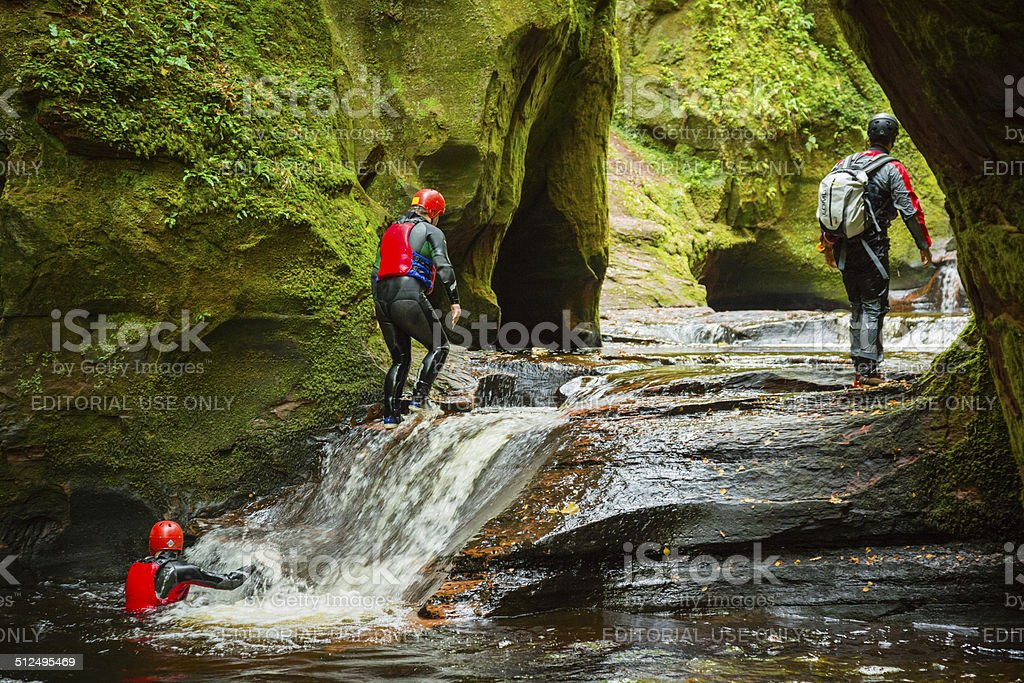 Canyoneering at The Devil's Pulpit stock photo