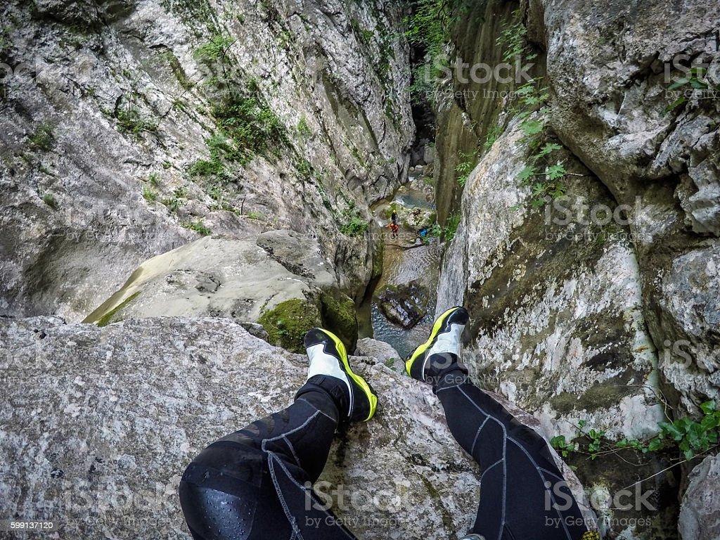 Canyoneering stock photo