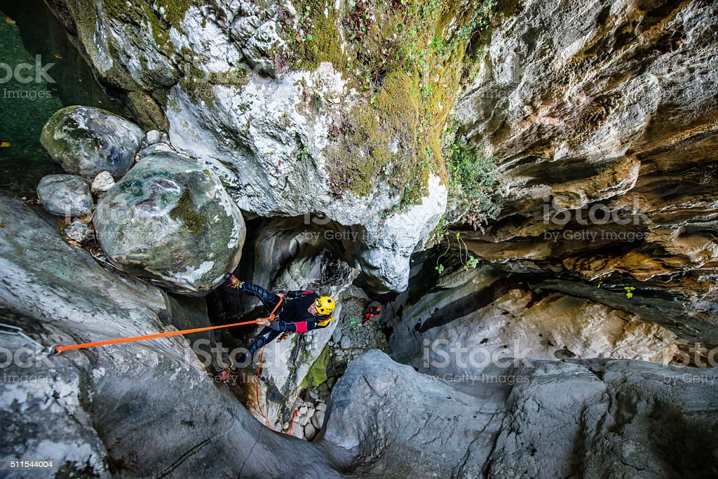 Canyoning activities stock photo