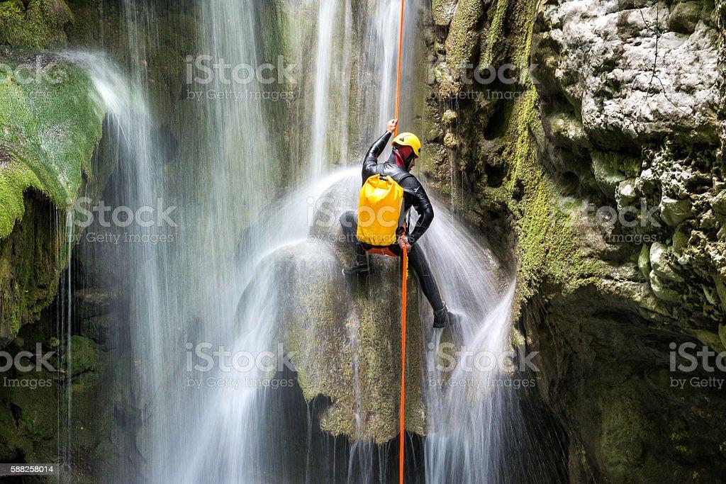 Canyoning adventure stock photo