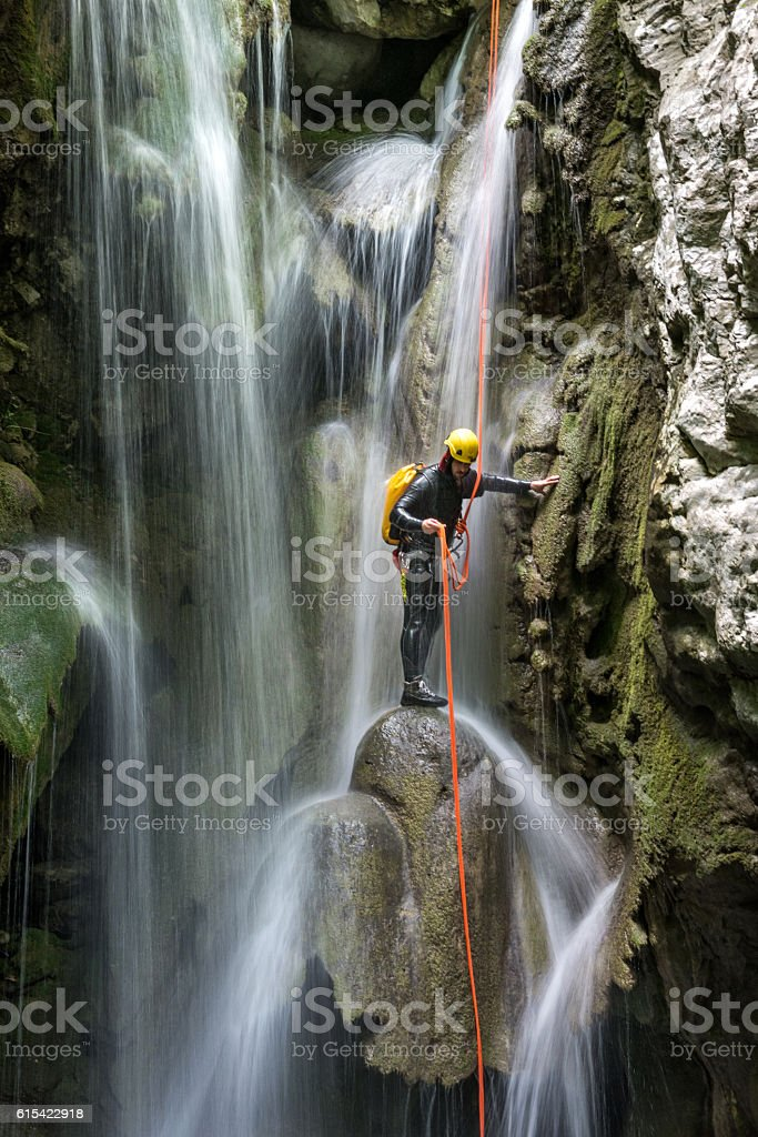 Canyoning adventure stock photo
