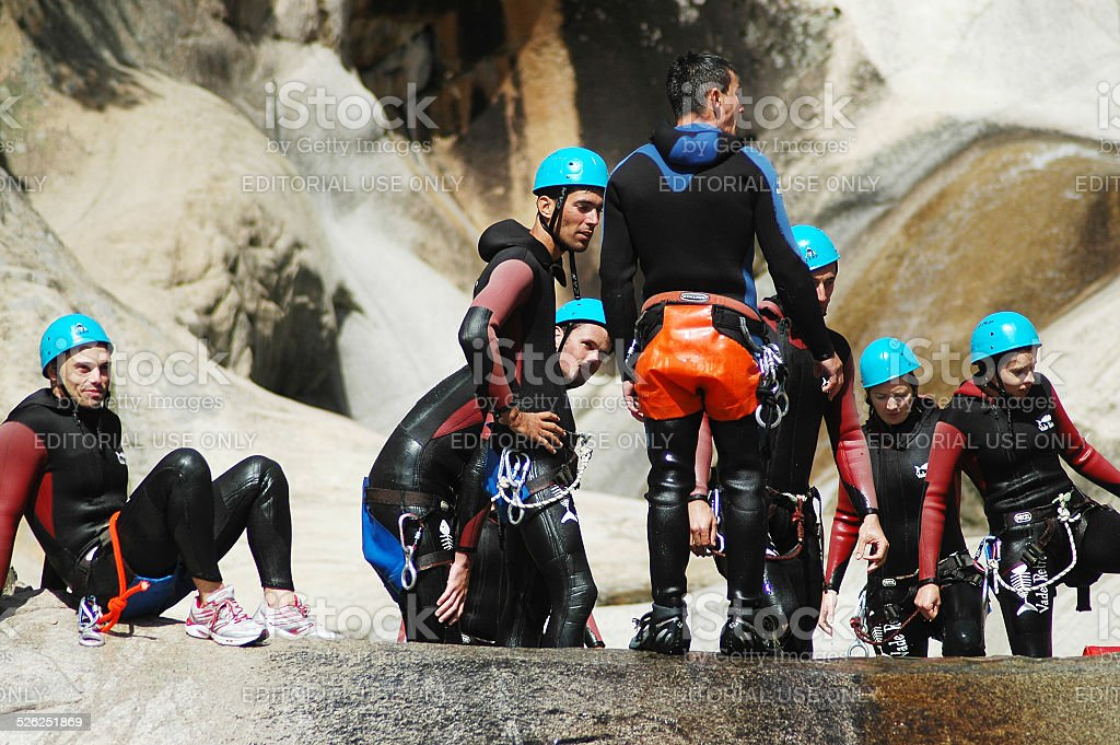 Canyoning in Purcaraccia canyon, Corsica, France stock photo