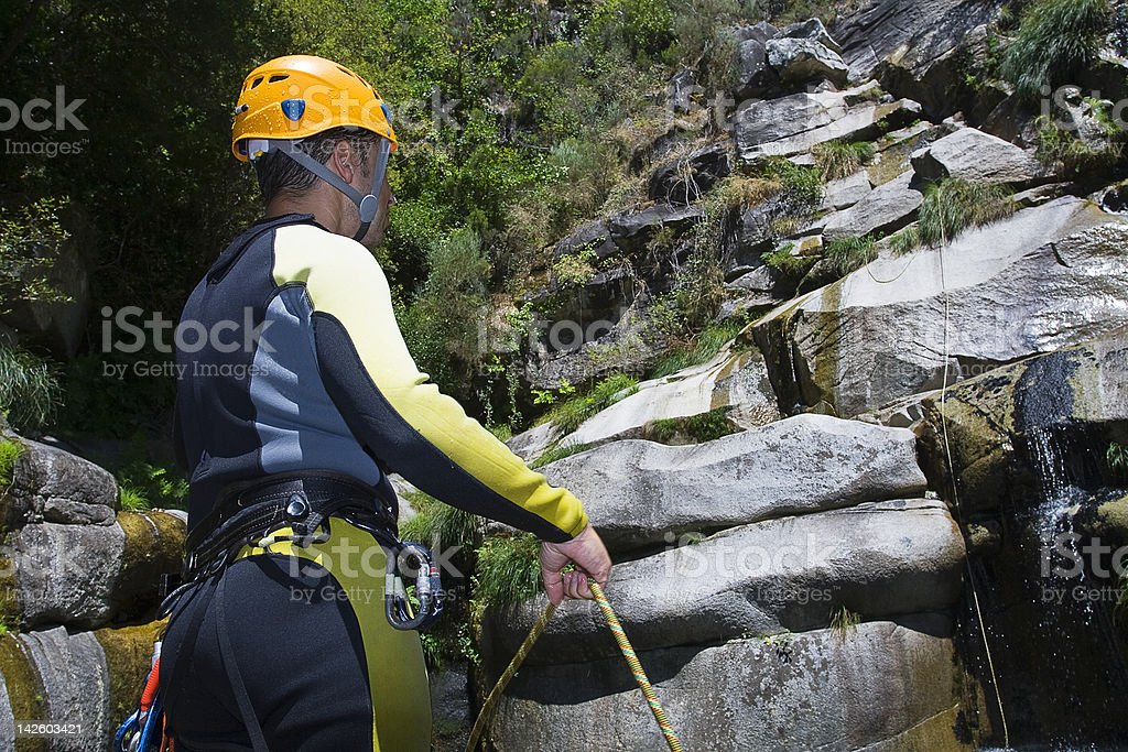 canyoning instructor stock photo