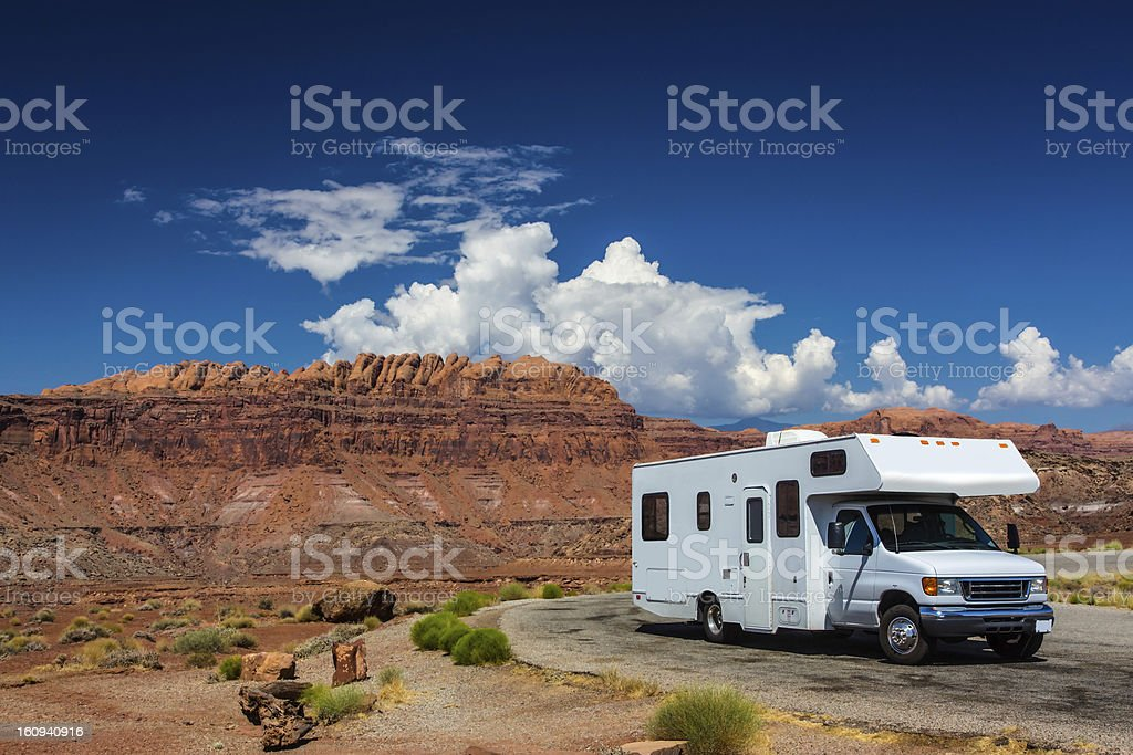 RV canyonlands stock photo