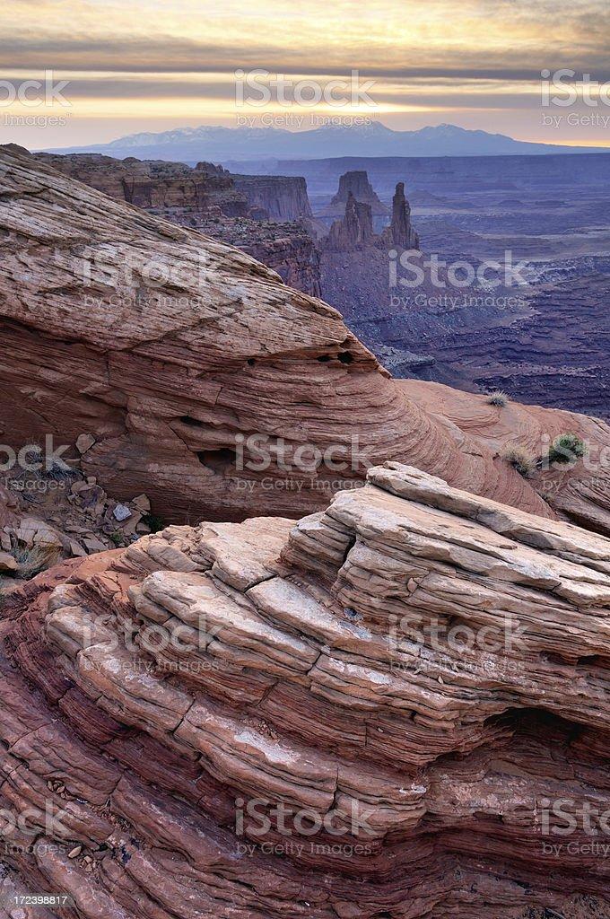 Canyonlands twilight landscape, Mesa Arch Area stock photo