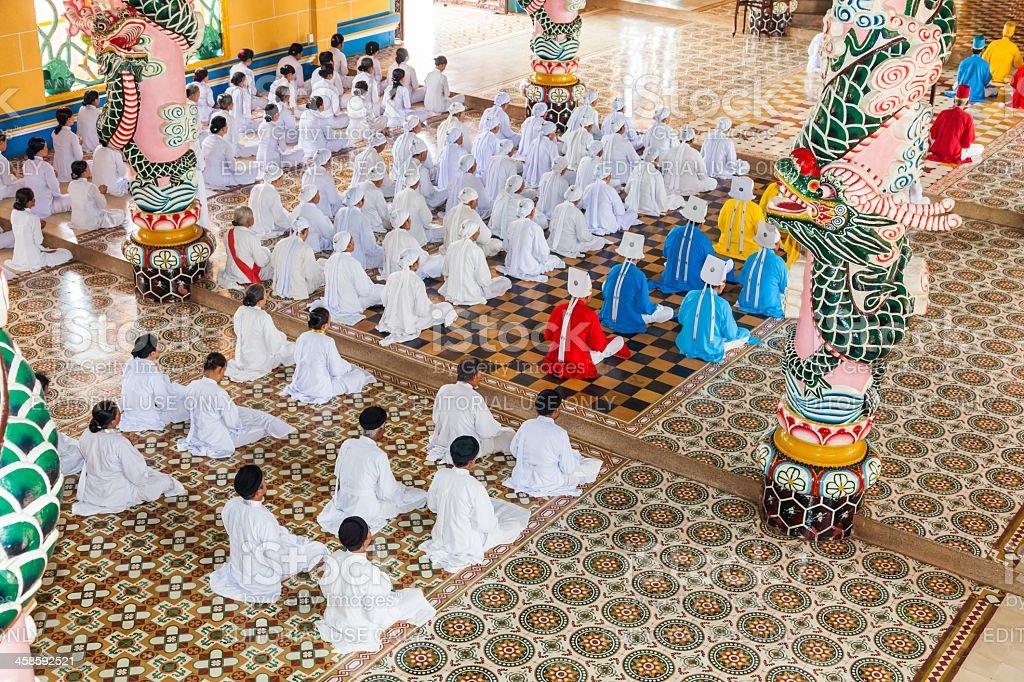 Caodai temple near Ho Chi Minh City, Vietnam royalty-free stock photo