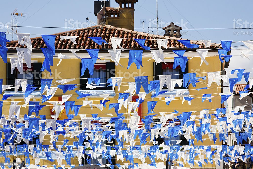 Caorle, flags for the village fete royalty-free stock photo