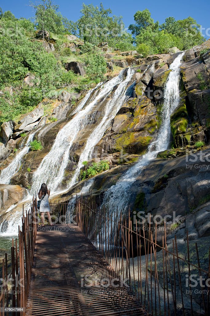 Caozo waterfall in Valle del Jerte, Caceres. Spain stock photo