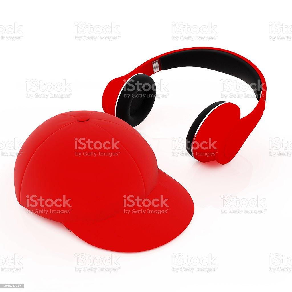 cap and headphones stock photo