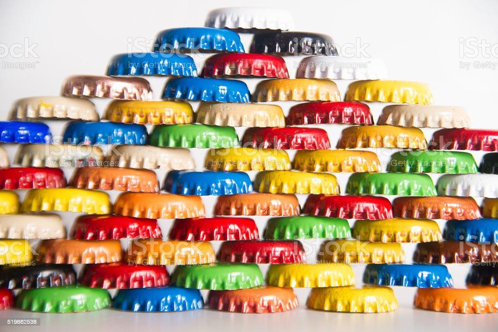 Cap bottles soft drinks stock photo
