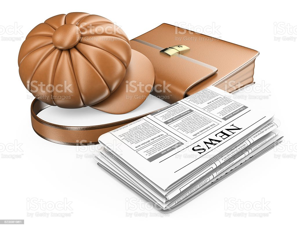3D Cap briefcase and newspaper. Latest news concept stock photo