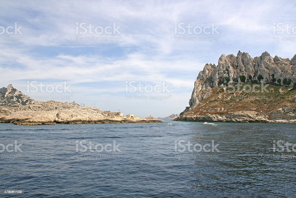 Cap croisette and Maire island, calanques of Marseille, France royalty-free stock photo