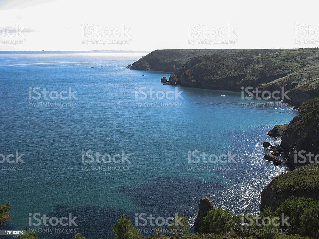 Cap de la Chevre and sea coast in Brittany stock photo