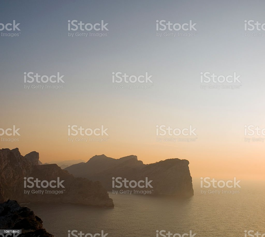 Cap Formentor at dusk. stock photo