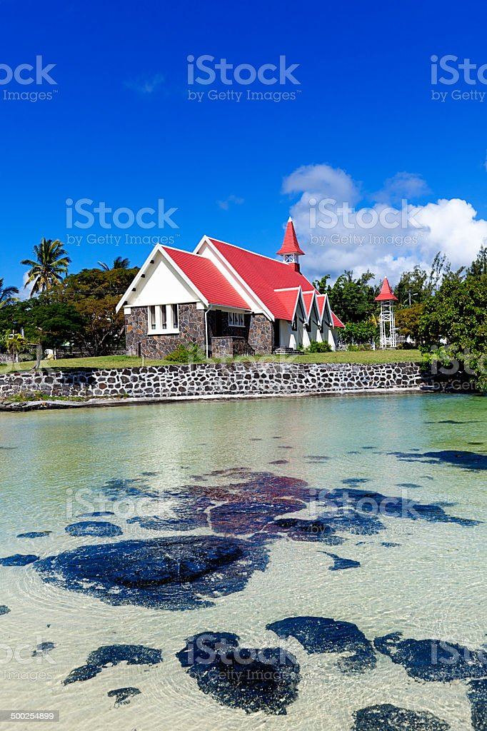 cap malheureux red roof church, mauritius island royalty-free stock photo