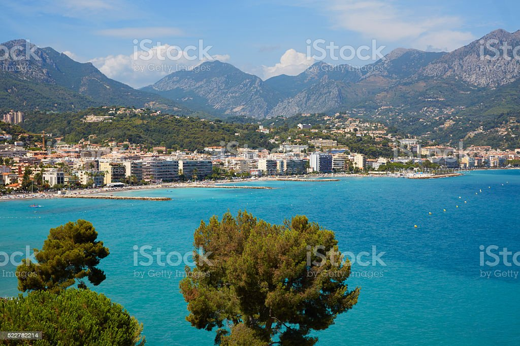 Cap Martin and Roquebrune, French riviera coast with blue sea stock photo
