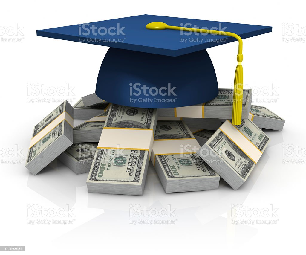 Cap on the stack of dollars stock photo