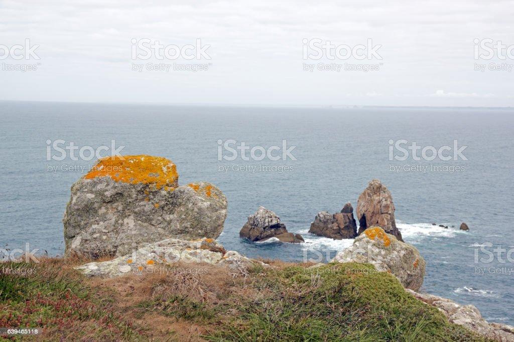 Cap Sizun, rocks and lichen (Finistere, Brittany, France) stock photo