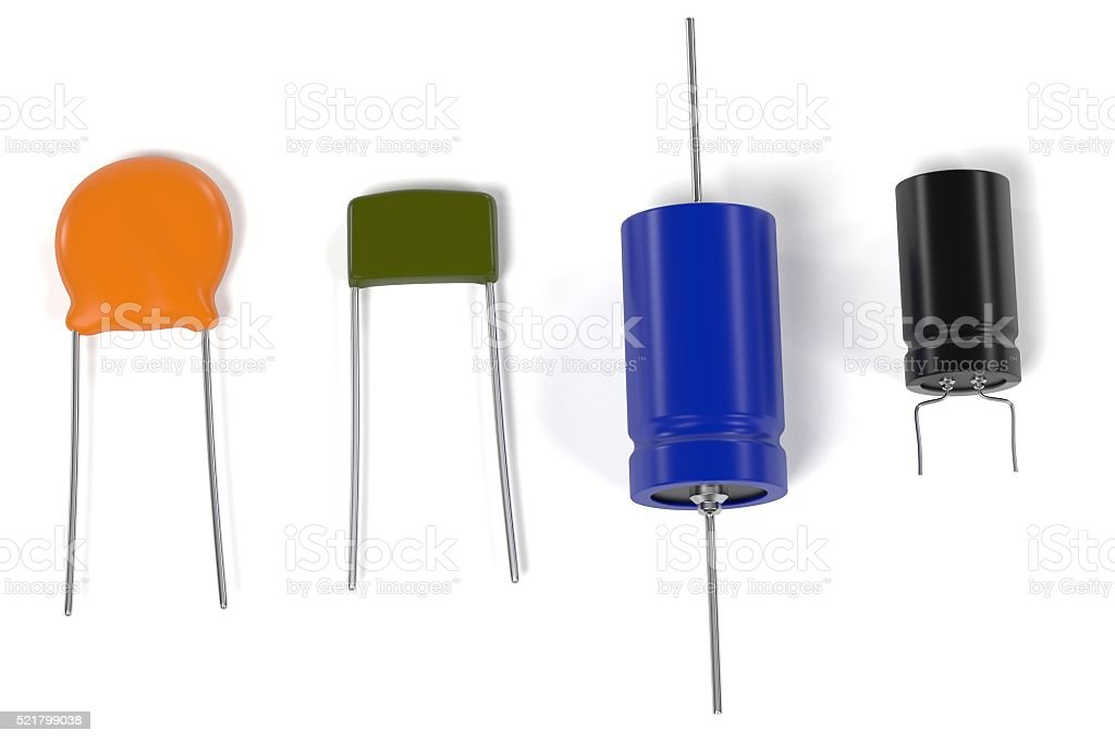 capacitor electronic parts stock photo