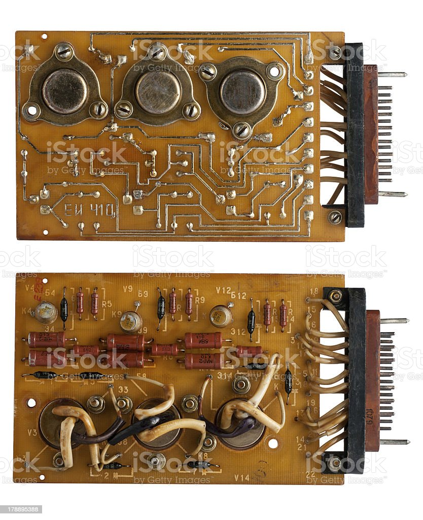 Capacitors and chips old microcircuit board royalty-free stock photo