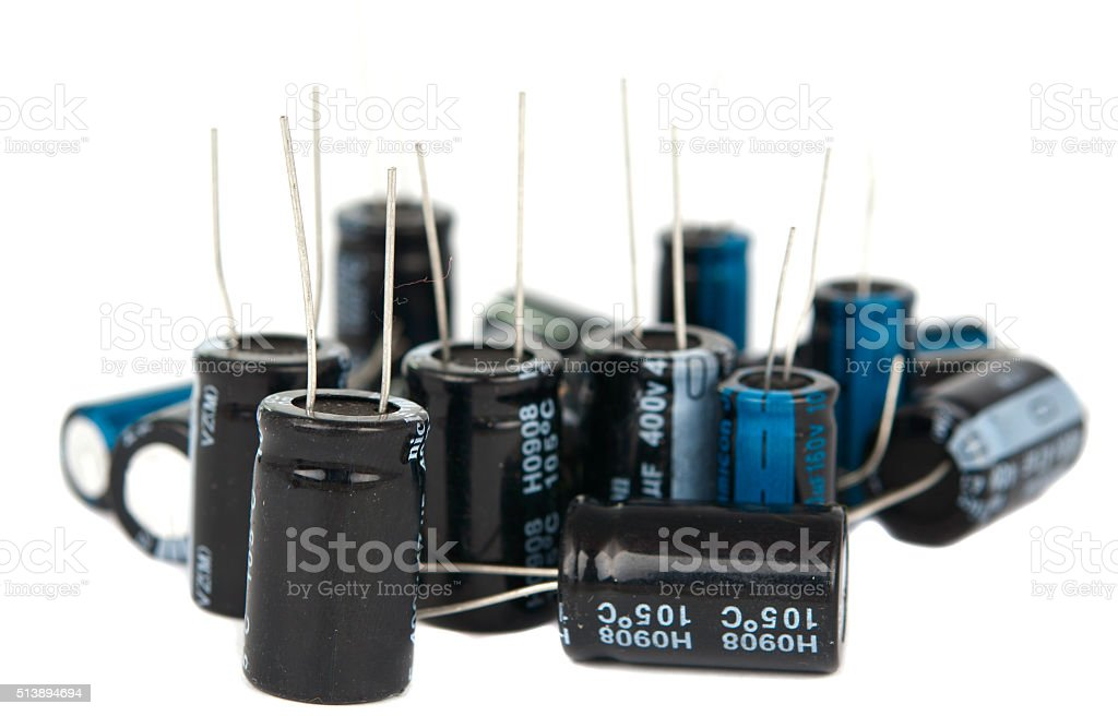 capacitors are isolated stock photo