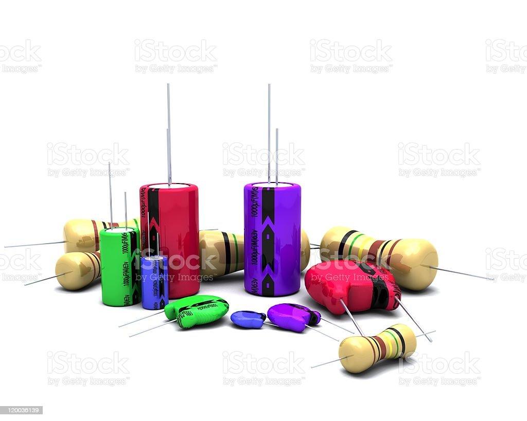 Capacitors Resistors and semi-conductors stock photo