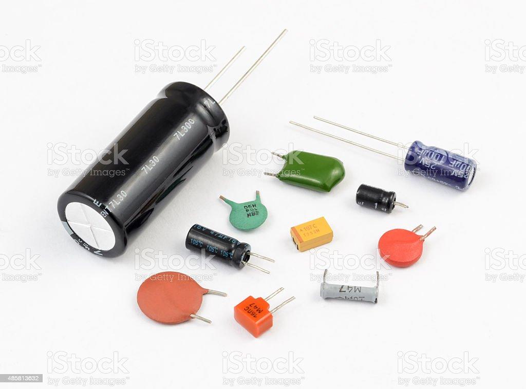 Capacitors. Various Kinds stock photo
