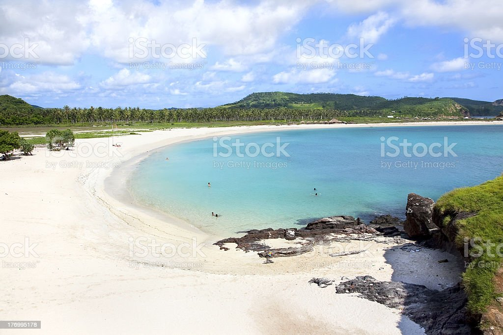 Tanjung Aan white sand  beach, Lombok, Indonesia stock photo