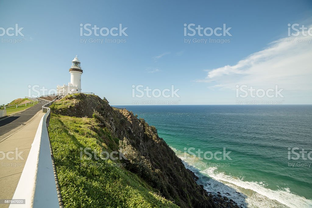 Cape Byron lighthouse above pacific ocean stock photo