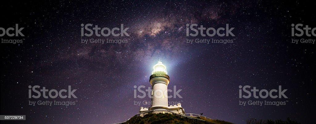 Cape Byron Lighthouse Milky Way Panorama stock photo