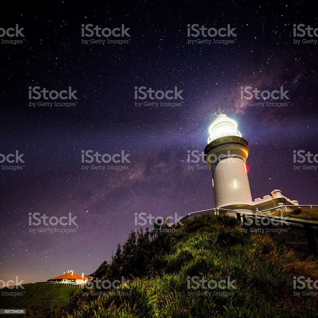 Cape Byron Lighthouse Milky Way stock photo