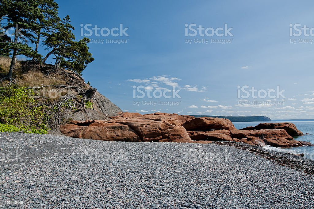 Cape Chignecto's red rock beach royalty-free stock photo