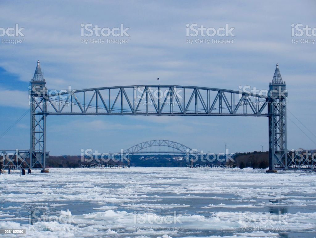 Cape Cod Canal ice flow stock photo