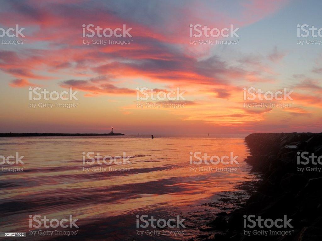 Cape Cod Canal, sunrise stock photo