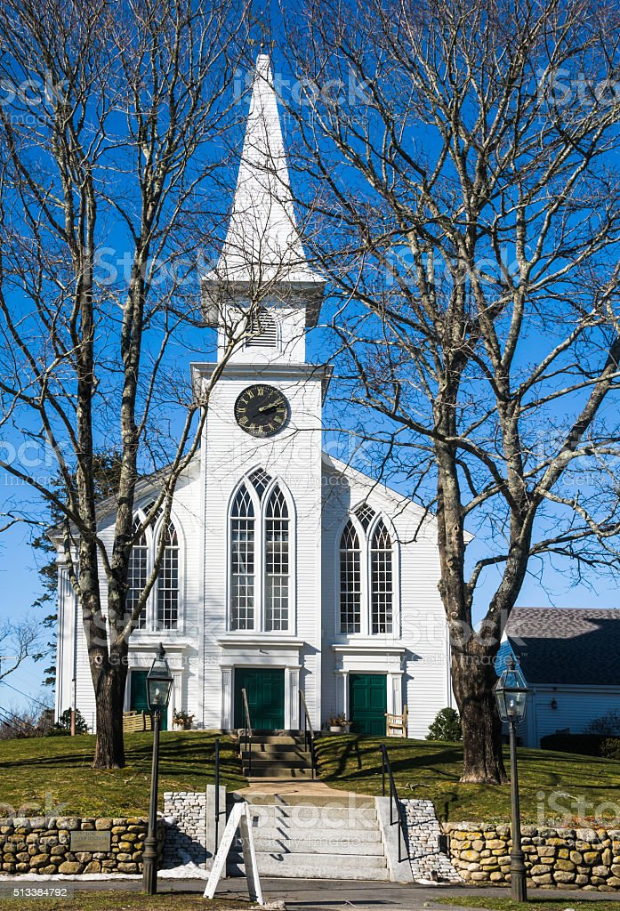 Cape Cod Church stock photo
